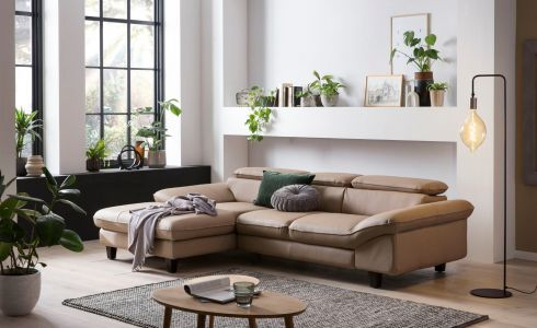 Leather corner sofa - Pilot (Pull-out with laundry compartment)