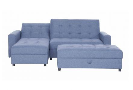Stūra dīvāns - Miko ar pufu (Izvelkams ar veļas kasti)