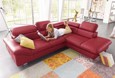 Stūra dīvāns ar dabīgo ādu sarkans