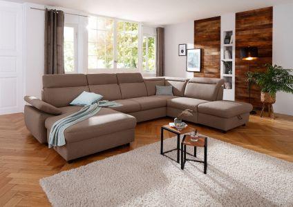 Liels u formas dīvāns ar veļas kasti un izvelkams brūns