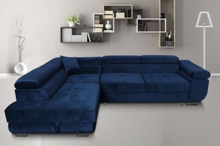 Corner sofa - Amaro-P with hocker (Pull-out with laundry compartment)