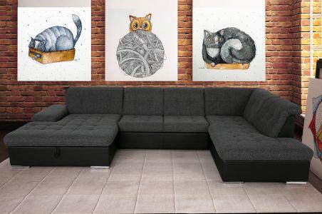 U-образный диван - Rico (Pаскладной с ящиком для белья)