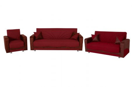 Dīvānu komplekts 3-2-1 - Delia (Izvelkams ar veļas kasti)