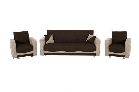 Dīvānu komplekts 3-1-1 - Delia (Izvelkams ar veļas kasti)