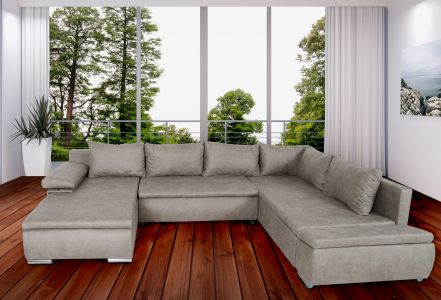 U-образный диван - Acra (Pаскладной с ящиком для белья)