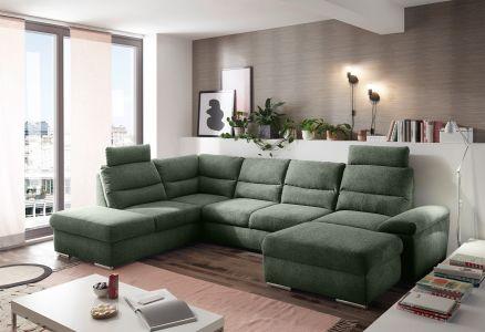 U formas dīvāns - Alma (Izvelkams ar veļas kasti)