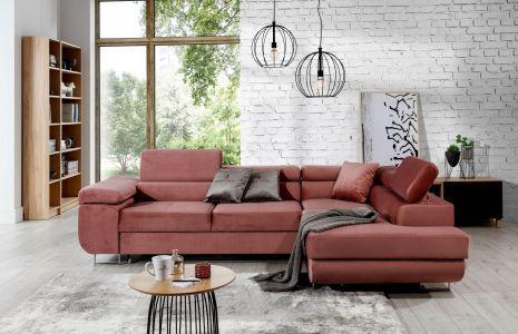 Rozā stūra dīvāns  samta