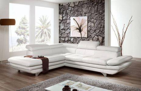 Stūra dīvāns balta āda