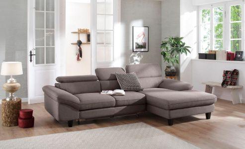 Stūra dīvāns pelēks izvelkams ar paceļamiem galvas balstiem