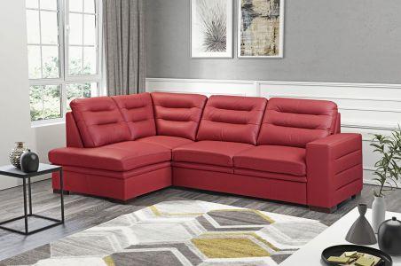 Ādas stūra dīvāns XL - Caro (Izvelkams ar veļas kasti)