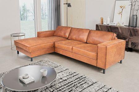Ādas stūra dīvāns - Celjon (Izvelkams ar veļas kasti)
