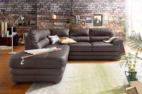 Stūra dīvāns ar dabīgo ādu brūnu