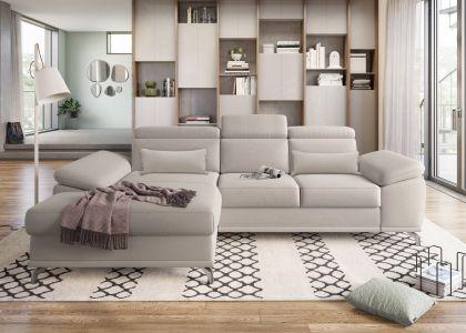 Rozā stūra dīvāns ar pufu