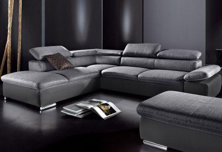 Melns ar pelēku dīvāns mākslīgā āda un audums
