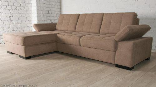Brūns stūra dīvāns  ar austu audumu