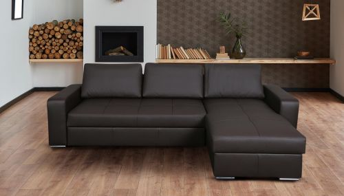 Ādas stūra dīvāns - Flores (Izvelkams ar veļas kasti)