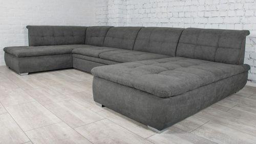 Liels u formas dīvāns pelēks