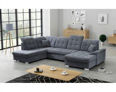 Pelēks dīvāns ar divām veļas kastēm