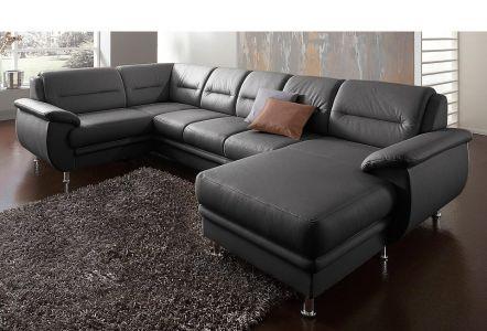 Melns dīvāns ar dabīgo ādu