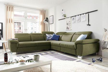 Stūra dīvāns zaļš olīvu zaļa krāsa izvelkams liels