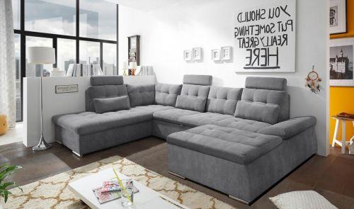 pelēks u formas stūra dīvāns