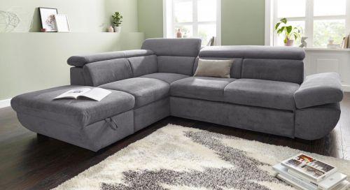 Pelēks stūra dīvāns ar austu audumu