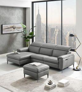 dabīgās ādas dīvāns stūra pelēks we furniture