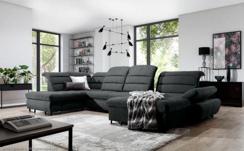 U-образный диван - Roma (Pаскладной с ящиком для белья)