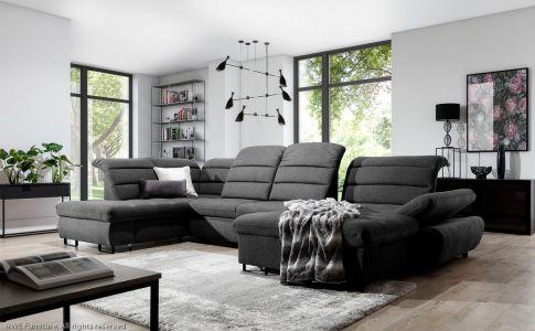 Tumši pelēks u formas dīvāns