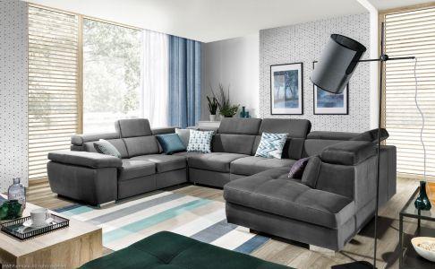 U formas dīvāns - Rosso (Izvelkams ar veļas kasti)
