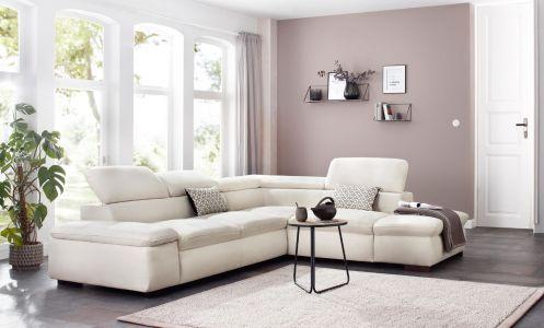 Gaišs stūra dīvāns izvelkams