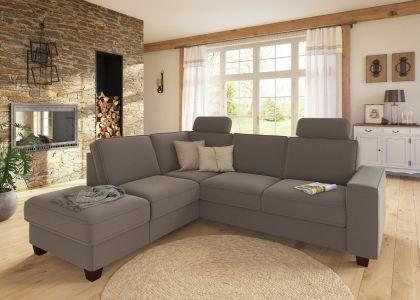 Stūra dīvāns XL - County ar krēslu un pufu (Izvelkams ar veļas kasti)