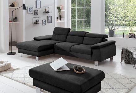 Melns stūra dīvāns ar austu audumu