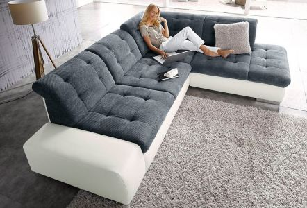 Kvalitatīvs vācu dīvāns ar audumu un mākslīgo ādu
