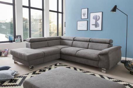 Pelēks dīvāns ar metāla kājiņām