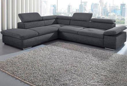 Melns liels stūra dīvāns ar regulējamiem galvas balstiem