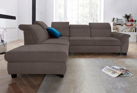 Dīvāns stūra ar brūnu labu audumu