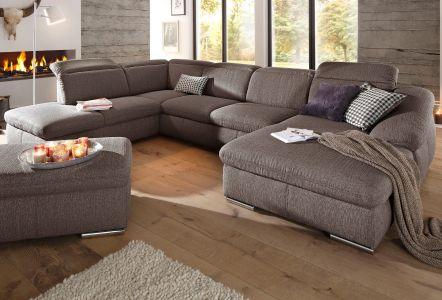 brūns mīksts u formas dīvāns