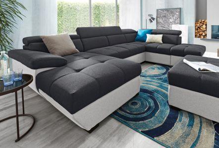 Liels ērts u formas dīvāns ar audumu