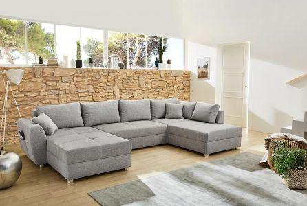 u formas dīvāns ar spilveniem