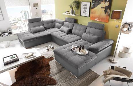 Pelēks u formas dīvāns jakarta