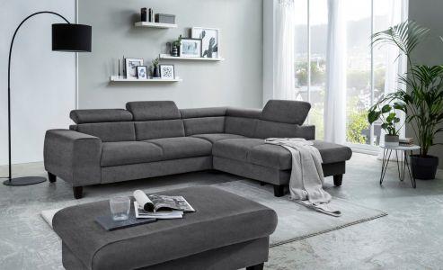 Alkantara stūra dīvāns melns