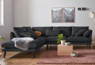 Tumši pelēks stūra dīvāns mīksts jauns
