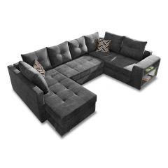 U formas dīvāns - Jonas (Izvelkams ar veļas kasti)