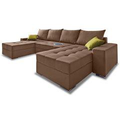 U formas dīvāns - Josy XL (Izvelkams ar veļas kasti)