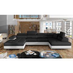 U formas dīvāns - Rodrigo (Izvelkams ar veļas kasti)