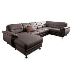Ādas U formas dīvāns - Mailand (Izvelkams)