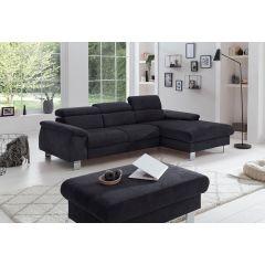 Melns stūra dīvāns ar labu audumu