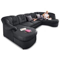 Ādas U formas dīvāns - Flores (Izvelkams)