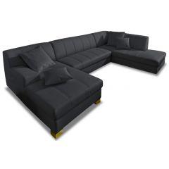 Ādas U formas dīvāns - Capri (Izvelkams)